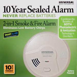 10 Year Battery Powered 2‐in‐1 Smart Smoke + Fire Alarm