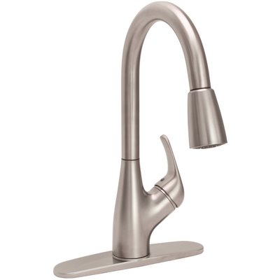 Premier Waterfront Single Handle with Sprayer Kitchen Faucet in Brushed Nickel