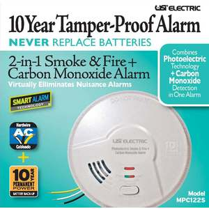 Hardwired Combination 2-in-1 Photoelectric Smoke/Fire + Carbon Monoxide Alarm