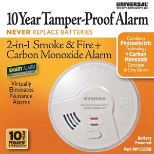 10 Year 2-in-1 Battery Powered Photoelectric Smart Smoke/Fire + Carbon Monoxide Alarm
