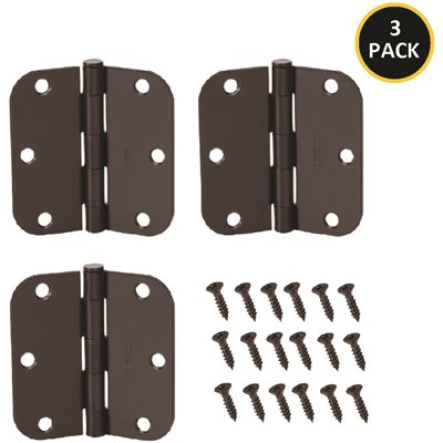 ORBHINGE - Everbilt 3-1/2 in. Oil Rubbed Bronze 5/8 in. Radius Smooth Action Door Hinges Value Pack (3-Pack)