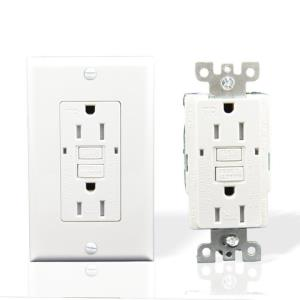 USI Electric 15 Amp Self Test GFCI Tamper-Resistant Receptacle Duplex Outlet, White or Ivory
