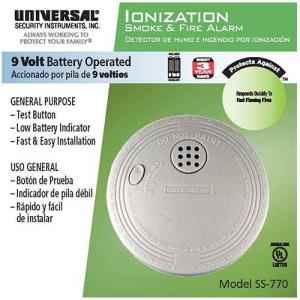 Universal Security Instruments Battery-Operated Ionization Smoke and Fire Alarm