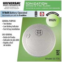 SS77024CC -           Universal Security Instruments Battery-Operated Ionization Smoke and Fire Alarm